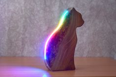 Natural Oils, Natural Wood, Colored Epoxy, Cat Bedroom, Wood Animal, Beautiful Figure, Wooden Lamp, Nightlights, Light Sensor