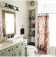 Hidden storage/ Floral shower curtain