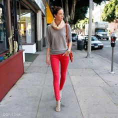 red jeans, grey shirt, nude heels and scarf