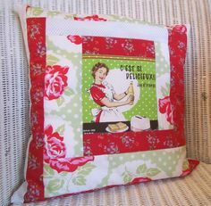 Retro red and green patchwork cushion cover