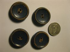 """Lot of 4 Vintage Blue Wood Buttons Painted Crackle Patina 1"""" 2 hole Chippy Worn"""