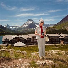 Woman Photographing at Many Glacier Hotel, Glacier National Park, MT 1981