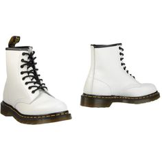 Dr. Martens Ankle Boots ($115) ❤ liked on Polyvore featuring shoes, boots, ankle booties, white, leather bootie, leather combat boots, military boots, white combat boots and combat booties