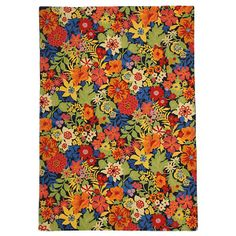 July Rug in Blueberry (floral Pattern, Hooked Rugs) | Handmade Area Rugs from Company C (New)