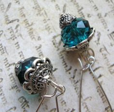 Teal and Pewter Earrings on French wires. $8.00.  So beautiful.  http://www.etsy.com/listing/125042612/teal-and-pewter-earrings?#