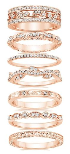 Gorgeous Wedding Bands for Women Just do an extra beautiful rose gold wedding band (and still get all white gold engagement and matching wedding band) Wedding Matches, Gold Wedding, Wedding Ring, Trendy Wedding, Unique Wedding Bands For Women, Leaf Wedding Band, Wedding Ideas, Bridal Rings, Budget Wedding