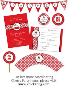 for summer, a cherry or strawberry themed party would be so fresh + fun! {printables by Chickabug on Etsy}