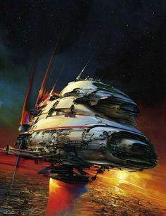 Science Fiction Illustrations by John Berkey - Sci-Fi Space Art Arte Sci Fi, Science Fiction Art, Science Art, John Berkey, Sci Fi Spaceships, 70s Sci Fi Art, Arte Tribal, Spaceship Art, Sci Fi Ships