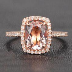 6x8mm Oval Morganite Cushion Halo Engagement Ring Pave Diamond 14K Rose Gold - 4 / 14K White Gold