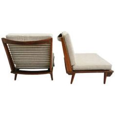 Minimal low lounge chairs in Japanese style | From a unique collection of antique and modern lounge chairs at https://www.1stdibs.com/furniture/seating/lounge-chairs/