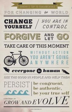 Words to Live by Wednesdays: Gandhi's top 10 fundamentals for changing the world! - Teaching Rocks!