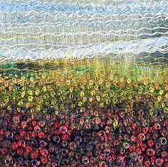 Embroidered Autumn landscape stitched beaded fibre by StitchMikki
