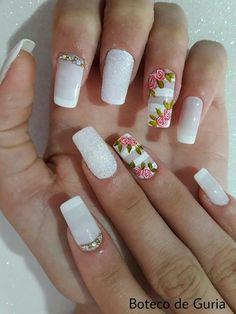 45 Melhores decorações do grupo de Unhas Decoradas Rose Nail Design, Rose Nail Art, Rose Nails, Camo Nails, 3d Nails, Nail Designs Spring, Nail Art Designs, French Nails, Polka Dot Nails