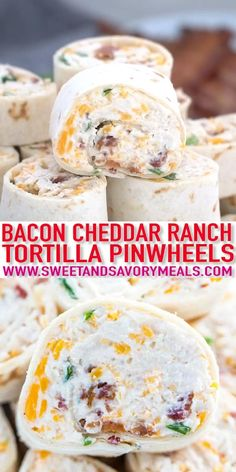 Bacon Cheddar Ranch Pinwheels are the ultimate party appetizers that you can put together in less than 20 minutes. #pinwheels #appetizer #fingerfood #recipevideo #chickenrecipes #sweetandsavorymeals