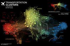Air transportation network by Nathan Yau