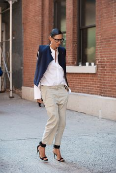 Jenna Lyons in a white button-down & khaki pants