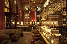 The Gilbert Scott St. Pancras International Station.With ornately painted ceilings and stunning bell chandeliers you are instantly swept up in the grandeur of the space. The Gilbert Scott bar is absolutely gorgeous and has some wonderful concoctions for you to try.
