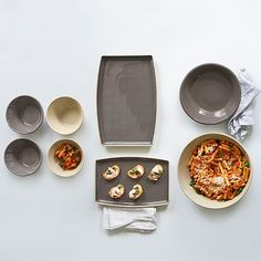Our beautiful stoneware serving set has everything you need to make entertaining effortless. It includes two platters, a large bowl, a medium bowl, and four small bowls. Serving Bowl Set, Serving Platters, Pampered Chef Stoneware, Keep Food Warm, Homemade Peanut Butter, Dishwasher Detergent, Foods To Avoid, Cooking Tools, Entertaining