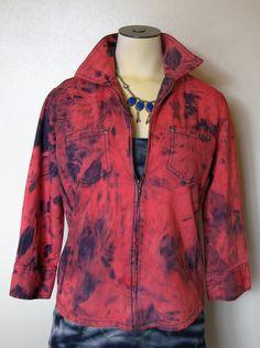 Repurposed Denim Jacket | Denim Shirt Jacket - Ruby Red Upcycled Hand Dyed Denim Jacket - Small