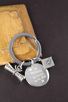 Graduation Gift For Him Or Her Diploma And Graduation Cap Charms With Custom Engraved And Personalized