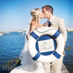 Real Weddings - A Coastal Chic Wedding in Wilmington, NC - Just Married Nautical Sign