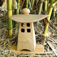 """Japanese garden Lantern, Tsukimi(moon viewing), Wheel thrown & Hand built ceramic stoneware, out or inside, 12""""H x 11 1/2""""W x 5 1/2""""D, OOAK by AumakuaPottery on Etsy"""
