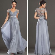 Grey Lace Evening Dresses Long Chiffon Formal Dresses Hollow Back Prom Gown 2014 #Handmade #ALine #Formal