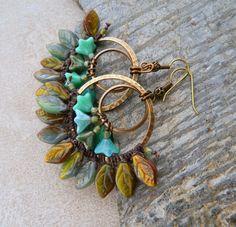 Romantic  Beaded Hoop Earrings Bohemian by HandmadebyValentina, £18.00