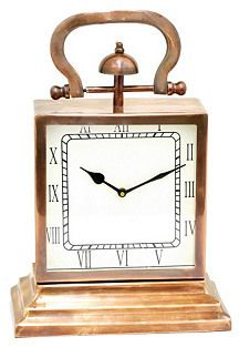 """Three Hands Corp 15"""" Table Clock, Copper"""