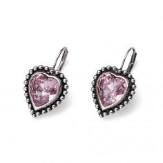 Oliver Weber Women lovely pink earrings antique heart with Swarovski Crystals Pink Earrings, Antique Earrings, Druzy Ring, Summer Collection, Belly Button Rings, Swarovski Crystals, Amethyst, Take That, Antiques