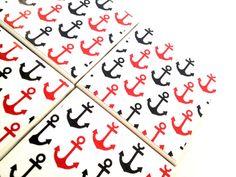 Single Ceramic Tile Coaster Nautical Anchor Black by QueenOfDeTile