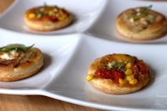 summer market puff pastry bites-    corn and tomato  caramelized onion and goat cheese