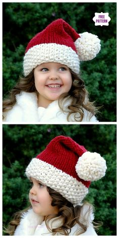 b244a843cd6 Knit Christmas Santa Hat Free Knitting Patterns