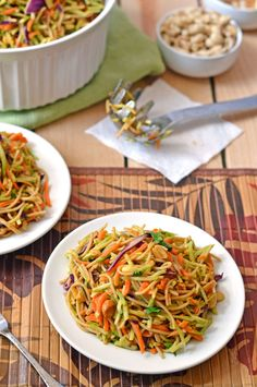 Asian Noodle Salad: Healthy pasta salad with a sweet and sour peanut sauce.