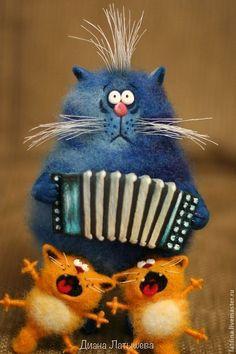 Купить Кот-музыкант - синий, 1 апреля 2014, кот, кот из шерсти, интерьерная игрушка