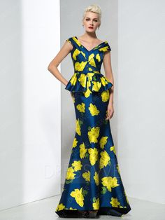 Dressv Yellow Flower Print Prom dress evening dress 2017 sexy V-Neck ruched  pleated Mermaid Long Evening Dresses Floor Length a7aa3d8445e8