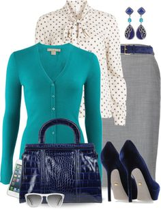 """""""Turquoise & Navy with Neutrals"""" by yasminasdream ❤ liked on Polyvore"""