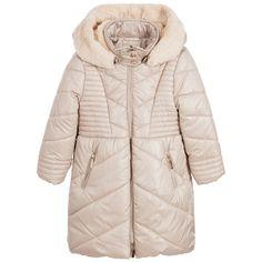 Mayoral Girls Beige Hooded Padded Coat at Childrensalon.com