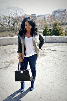 Fur vest, leather jacket