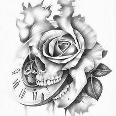 Clock Tattoo Design, Skull Tattoo Design, Skull Tattoos, Body Art Tattoos, Hand Tattoos, Sleeve Tattoos, Tattoo Designs, Tattoo Sketches, Tattoo Drawings