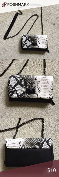 Faux snakeskin wallet purse Used once! Great condition, perfect for going out. Fits phone, credit card, ID, lipstick, etc. Sam & Libby Bags Mini Bags
