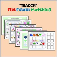 6 File Folder Interactive Matching tasks for students with Special Needs & Autism. Autism Activities, Autism Resources, Classroom Activities, File Folder Activities, File Folder Games, File Folders, Autism Classroom, Special Education Classroom, Task Boxes