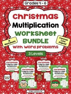 These worksheets cover Multi-Digit Multiplication with a Christmas theme.There are 4 different topics in this comprehensive Multiplication Bundle.  Each of the 4 Topics includes 3 levels of worksheets PLUS and additional 4th worksheets with Christmas themed multiplication word problems.
