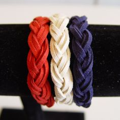 Hey, I found this really awesome Etsy listing at https://www.etsy.com/listing/185715438/suede-braided-sailor-knot-bracelet-white