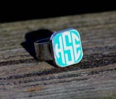 Love this Turquoise Monogrammed Ring!!!!!