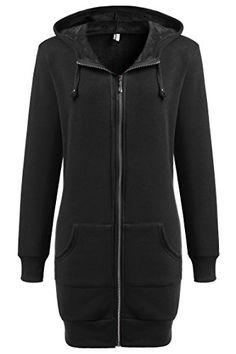 a66b2bff422 Women s Sweatshirt Fleece Hoodie Zip up Tunic Jacket Coat with Pocket  Winter Coats Women