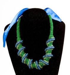 Dark Green - Navy Blue - Dark Blue - Nacrous Green - Nacrous Blue Seed Beads Necklace Jewelry, Elegant Women's Beadwoven Jewelry, Special Occasion Jewelry, Unique Gift