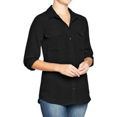 Old Navy Womens Chiffon Button Up Blouses - Black jack found on Polyvore