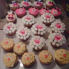 Made these farm animal cupcakes for my goddaughters birthday party. Used MnMs for the eyes of the cows, fun size Hershey chocolates for the ears, cut mini marshmallows in half for the horns.