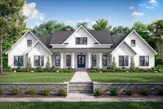 This modern farmhouse plan expands on our popular plan51814HZ (which itself expands upon house plan51758HZ)and gives you an extra bedroom, a game room and a 3-car garage.Enter the foyer off the front porch and your view extends through the dining room to the French doors that take you to the large rear porch. To your right, a single door takes you to your private home office.The large kitchen has views that extend across the dining room tot he great room. A large island with eating bar… House Plans One Story, Family House Plans, Ranch House Plans, Craftsman House Plans, Bedroom House Plans, New House Plans, Story House, Modern Farmhouse Exterior, Farmhouse Style